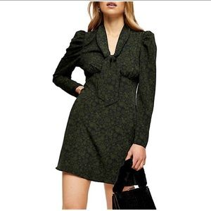 Topshop Green Archive Print Dress